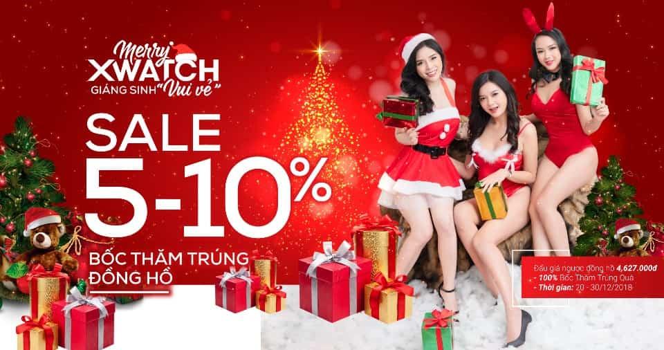 """GIÁNG SINH """"VUI VẺ"""": SALE 5 - 10% - Bốc Thăm Trúng Đồng Hồ 4,6 Triệu"""