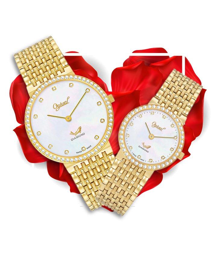 Đồng hồ đôi Ogival OG385-022DGK-V + OG385-022DLK-T