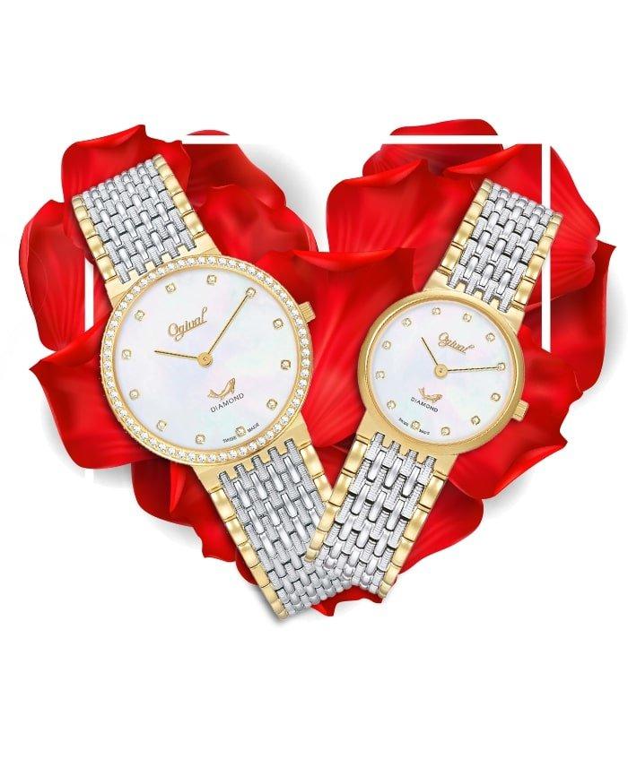 Đồng hồ đôi Ogival OG385-022GSK-TRAI + OG385-022LSK-T-TRAI
