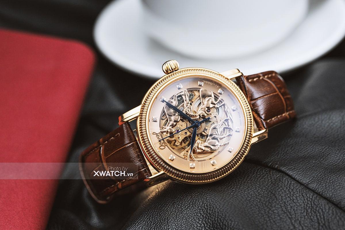 Đồng hồ Ogival 3 chú dê vàng