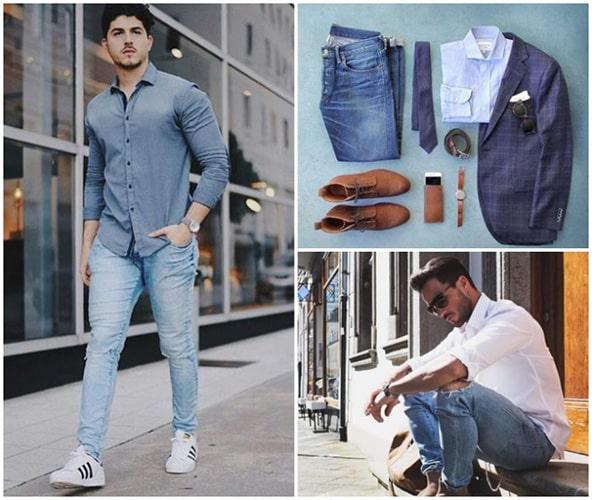 Phối đồ nam với quần Jeans