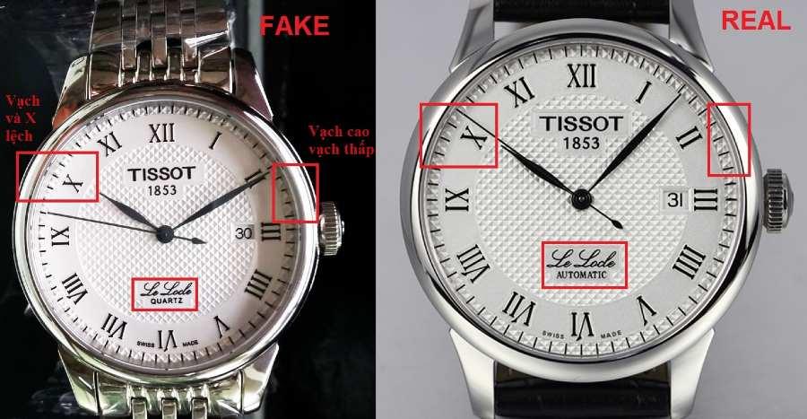Sự khác biệt của mặt số của đồng hồ fake (trái) và đồng hồ thật (phải)